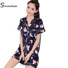 Smmoloa Girls Summer Silk Pyjamas Women Satin Pajamas Floral Print Short  Sleeve Plus Size(China 8257670f7