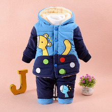2-4 Y Boys Winter Clothing Set Down Parkas For Boy Warm Jacket Coats Pants Two Pieces Giraffe Pattern Hooded Size for 2 3 4 year