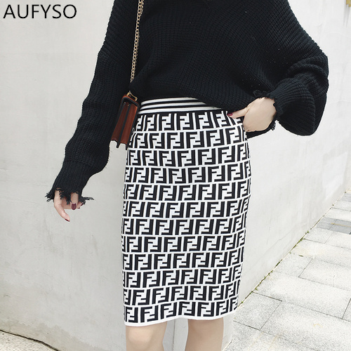 Skirts Womens Autumn Winter 2018 Runway Vintage FF Geometric High Waist Bodycon Knit Wool Skirt American Apparel Saia Midi B285