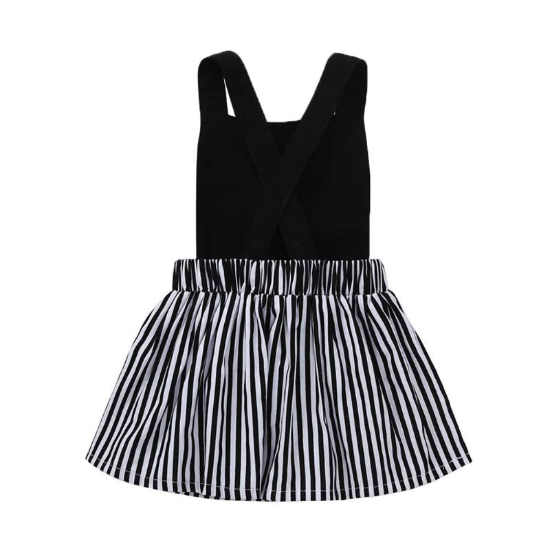 Summer Girls Clothes Cute Cat Embroidery Sleeveless Strap Top Patchwork Stripes Detachable Dresses Kids Clothing