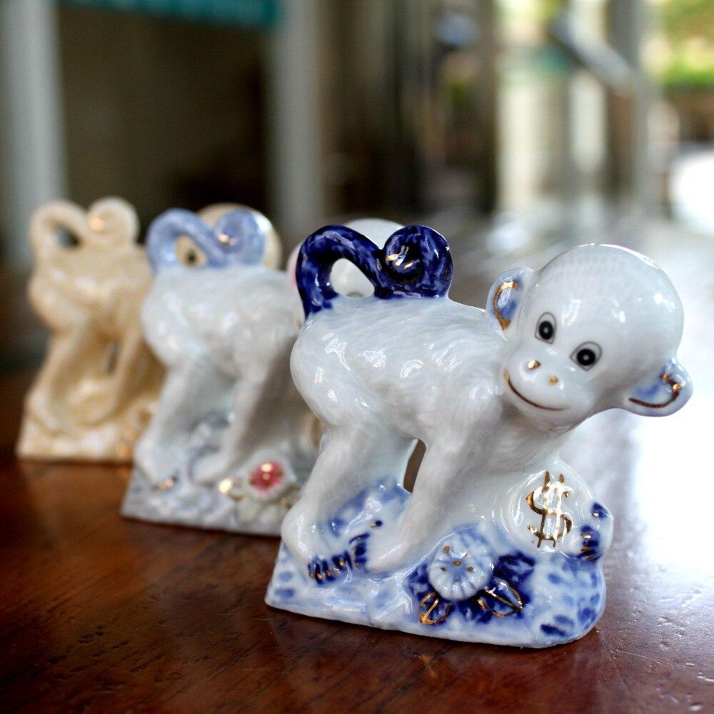 Cute porcelain monkey ornament russia new year gift women