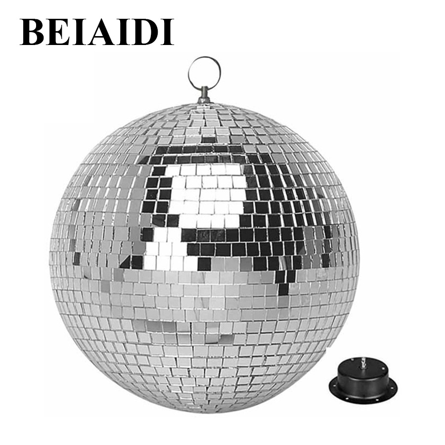 BEIAIDI D25CM Glass Rotating Disco DJ Mirror Ball With AC Motor Fixtures Disco Crystal Mirror Ball Reflective Stage Effect Light