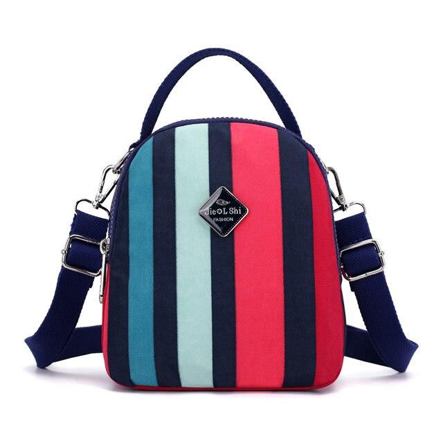 7de46a6cd05c JIELSHI Women Mini Backpack Classic Stripe Pattern Nylon Female Shoulder    Crossbody Bags Multifunction Tote Bag