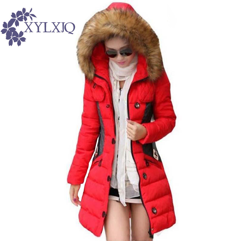 XYLXJQ 2017 New Winter Jacket Women Parka Fur Collar Hooded Thickening Cotton Padded Winter Coat  jaqueta feminina inverno HQ077 грунтоочиститель sera precision gravel cleaner для аквариумов