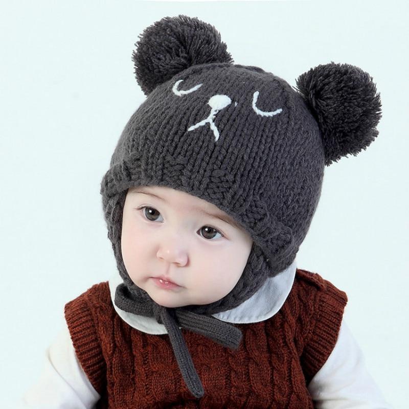 Kids Winter Hats with Earmuffs Cute Bear Design Baby Knitting Hats with Lamb Wool Inside Beige Hats Toddlers Crochet Beanie 2017