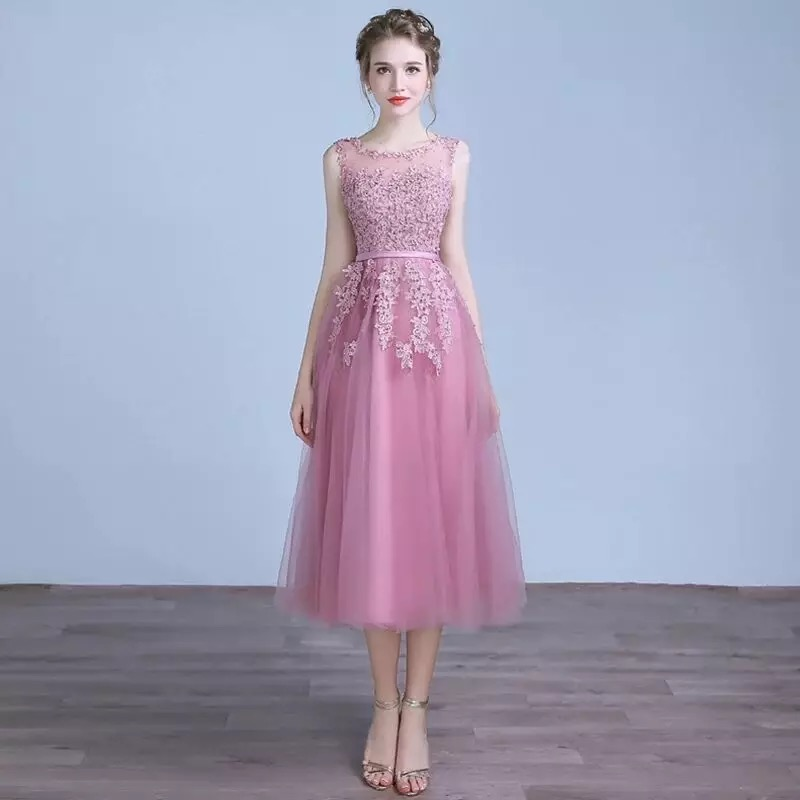 A Line Lace Tulle Tea Length   Prom     Dresses   In Stock Scoop Neck Appliques Pearl Pink Elegant Formal Event   Dress   Cheap DQG210