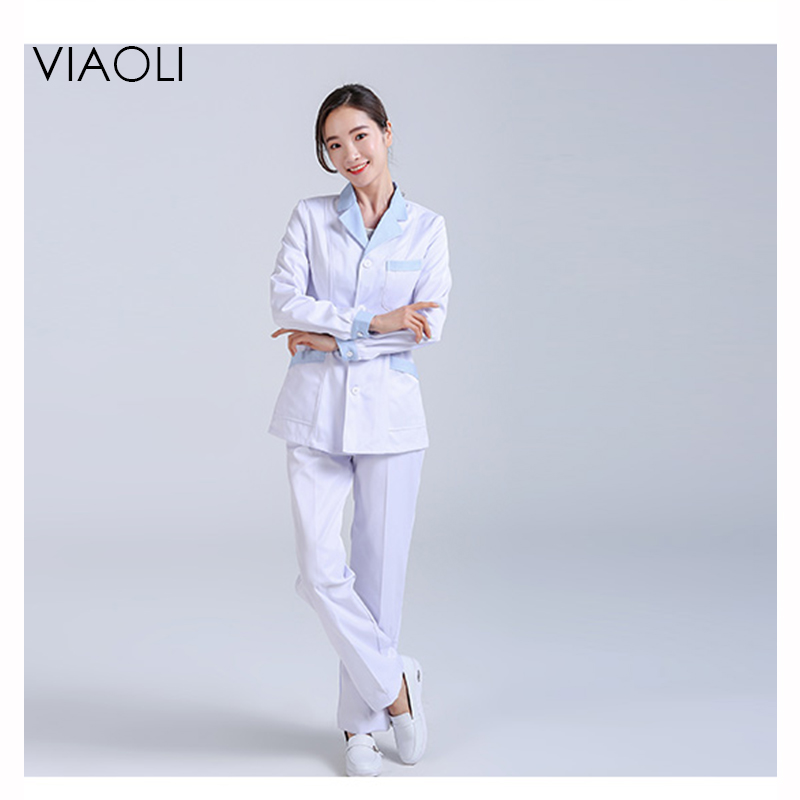 Viaoli white long-sleeved doctor suit split body suit collar male and female doctors short-sleeved cotton dental nurses uniform ai lianxin new women doctors and nurses surgical caps hat cotton cap and short hair with sweatbands alx 114