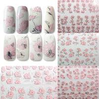 2017 Newyear Gifts Cheap 12 Sheet Set 3D Nail Sticker Flowers Patterned Art Decals DIY Manicure