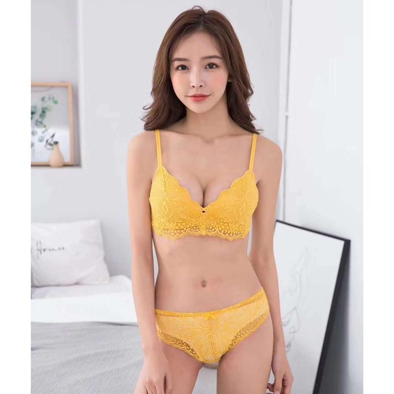 Bra     Brief     Sets   Lingerie Women Panties Female   Bra   Women Bralette Sexy Underwear Lacy Lace   Bra     Set   Seamless Push Up   Bra   Wire Free