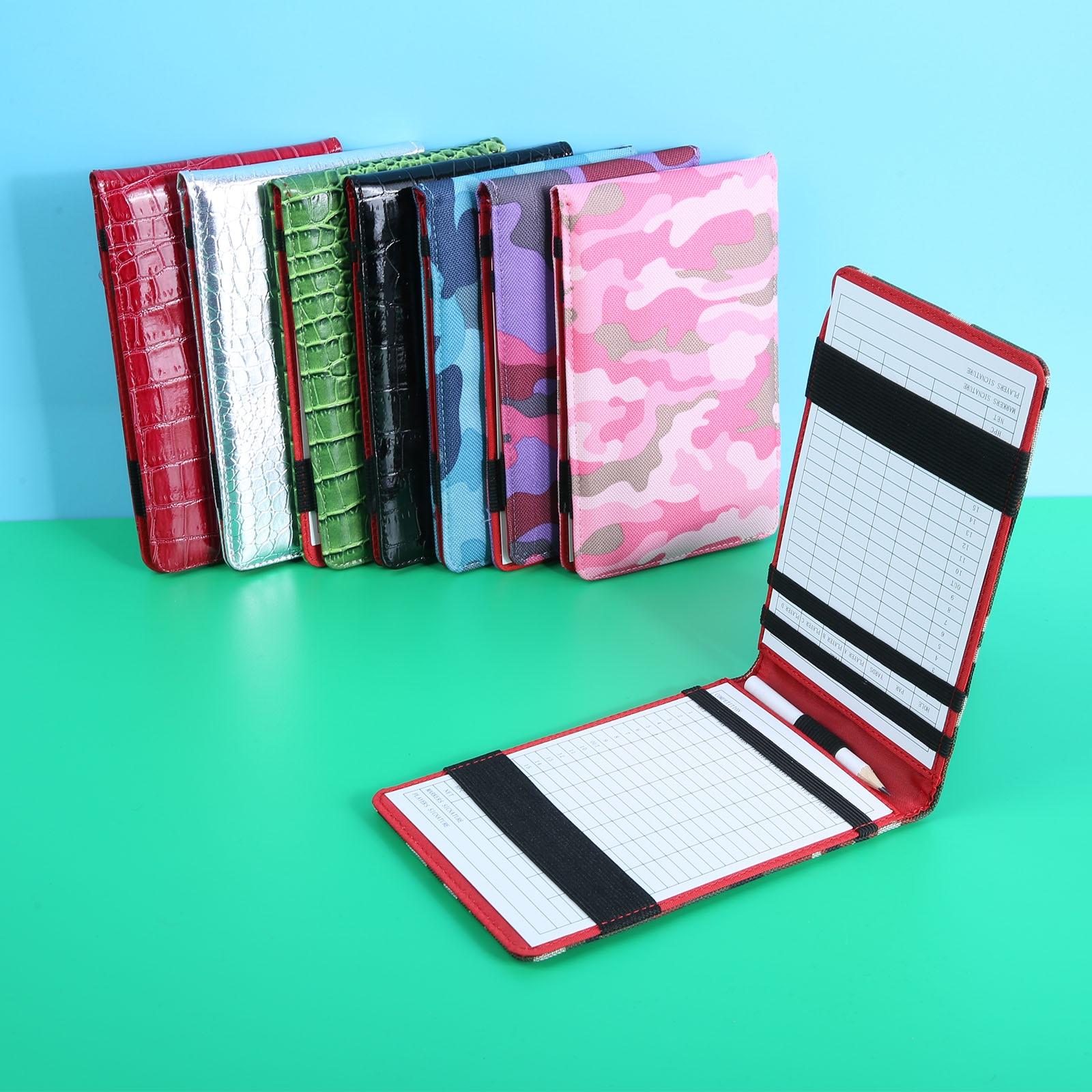 1 Pc PU Leather Golf Scorecard Holder Training Notebook Performance Golf Score Bookkeeper Cover & 2pcs Score Cards & 1 Pc Pencil