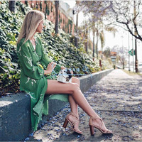 Women 100% Silk Painted Floral Print Wrap Long Dress Green Long Sleeve Dark V Neckline Sexy Dresses Holiday Summer Beach Loveing