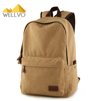 Wellvo Vintage Canvas Backpack Men Fashion Solid Backpacks Teenage Girls Boys School Bags Large Travel Bag Rucksack Brown XA2114