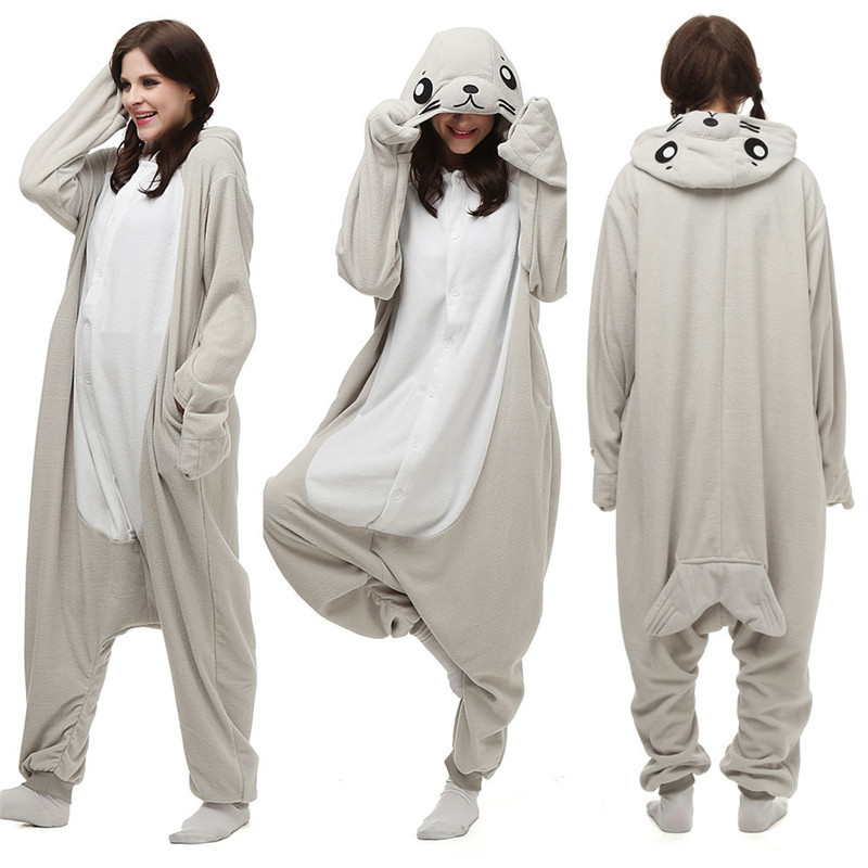 Christmas Halloween Birthday Gift Popular Cartoon Seal Homewear Hoodie Pyjamas Onesies Nattøy Robe For voksne