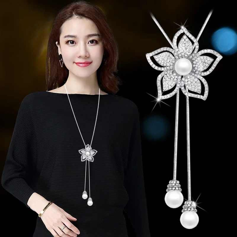 RAVIMOUR New Choker Flower Women Necklaces & Pendants Silver Chain Long Kolye Simulated Pearl Jewelry Korean Collar Mujer 2018