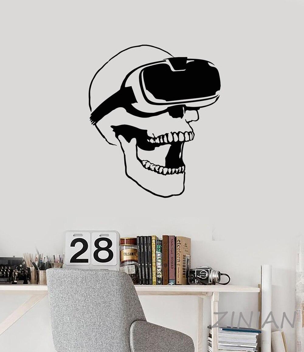 Schädel VR Headset Virtual Reality Gamer Video Spiel Wandaufkleber ...
