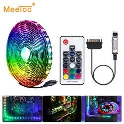 RGB LED Strip Light 60LEDs/m 12V 5050 Ribbon Diode Tape Lamp SATA Interface Neon Light for PC Computer Case RF Remote Controller