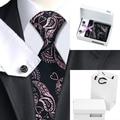 B-291 Мужские Галстуки Розовый Черный Цветочный Шелковый Галстук Ханки Запонки Коробка подарка Мешок Наборы Галстуки Для Мужчин Бизнес Свадьба поставки