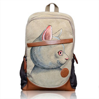 2017 New Cat Korean Version Of The Hand Painted Casual Arts Campus Backpack Students Creative Graffiti