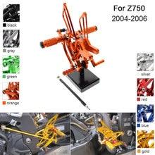 цены CNC Aluminum Adjustable Rearsets Foot Pegs For Kawasaki Z750 2004 2005 2006