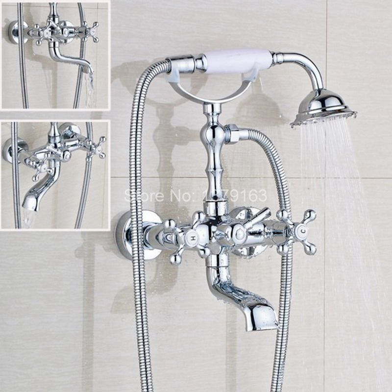 Polished Chrome Double Cross Handles Wall Mounted Bathroom Clawfoot Bathtub Tub Faucet Mixer Tap w/Hand Shower atf902 free shipping polished chrome finish new wall mounted waterfall bathroom bathtub handheld shower tap mixer faucet yt 5333