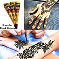 Mehndi Black Henna Tattoo Paste Cone 3pcs/lot + Stencil Temporary Flash Tattoo Body Art Henna Tatoo Wedding Adult Sex Products