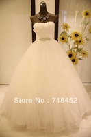 Real Sample 2014 Wedding Dresses With Feather Organza Crystal Waist Off The Shoulder A Line Bridal