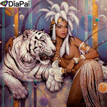 DiaPai Diamond Painting 5D DIY 100% Full Square/Round Drill Tiger beauty Embroidery Cross Stitch 3D Decor A24831