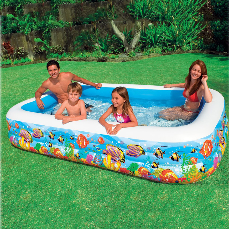 305*183*56cm Tropical Inflatable Family Swimming Water PoolBaby Square Paddling Pool Infant Playground Piscina Bebe Zwembad A206 dual slide portable baby swimming pool pvc inflatable pool babies child eco friendly piscina transparent infant swimming pools