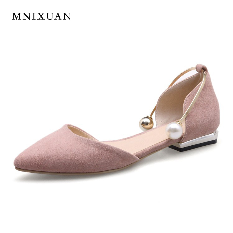 Elegant comfortable women flat shoes sandals 2017 summer genuine leather pointed toe pearls office solid flats big size 41 42 43 spring women red shoes flat pointed toe genuine leather high 2017 new woman shoes high quality casual flats big size 41 42 43
