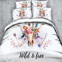Deer/Elk Mandala Bedding All Season Reversible Hypoallergenic Plush Microfiber Fill Box Stitched Machine Washable 3/4 Pi'e'c