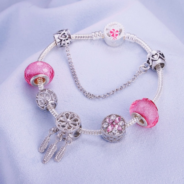 European Jewelry Charm Women Bracelet Crystal Pink Gem Bead Silver Tassel Ladies Bangle Kids Gift Accessories DIY Pulseras mujer