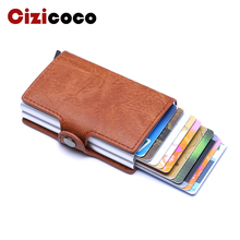 2019 New PU Crazy Horse Leather Card Holder Men And Women Business ID Credit Card Holder Unisex Double Aluminium Box Card Wallet vintage brand new leather business credit card name id card holder case slim wallet box for women and men gift 1pcs