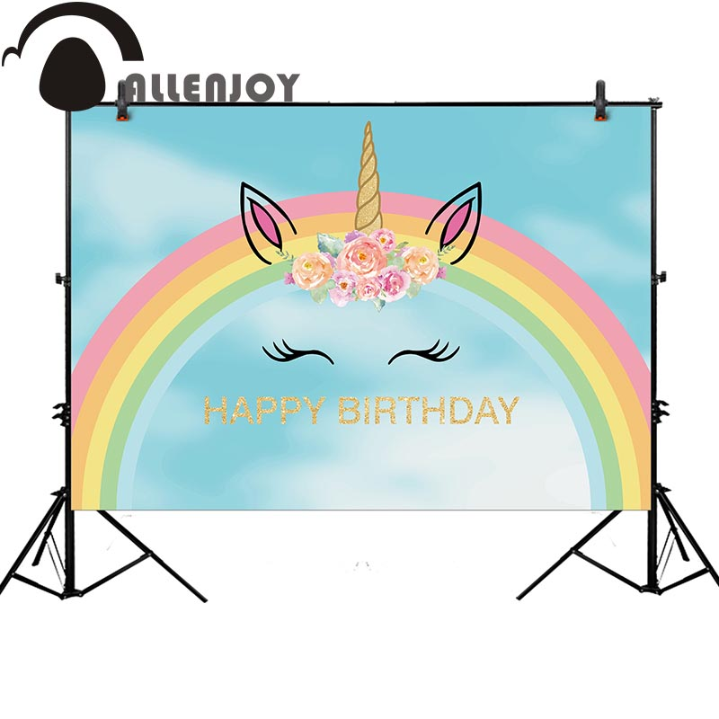 Allenjoy unicorn photography backdrop blue birthday party banner for kids background photobooth photocall photo studio fabric birthday party backdrop balloon and paper craft photography backdrop for photo studio photography background s 2132 c