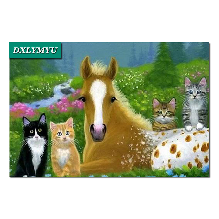 Plastic crafts DIY diamond painting square cross stitch full drill needlework painting diamond embroidery Prairie cats and horse