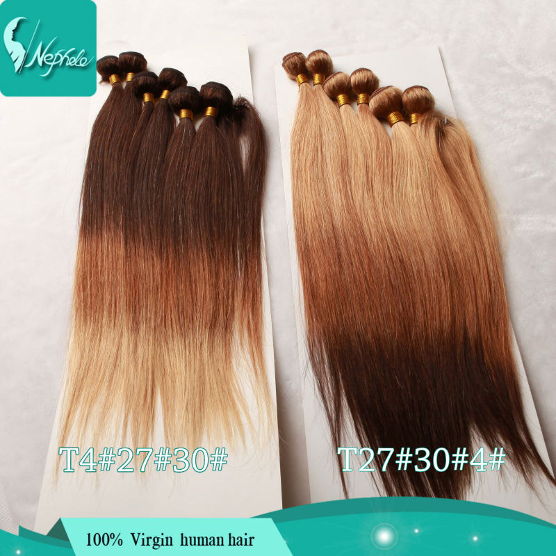 Ombre Hair Extensions 3 Three Tone Ombre Blonde Brown Bungundy Red