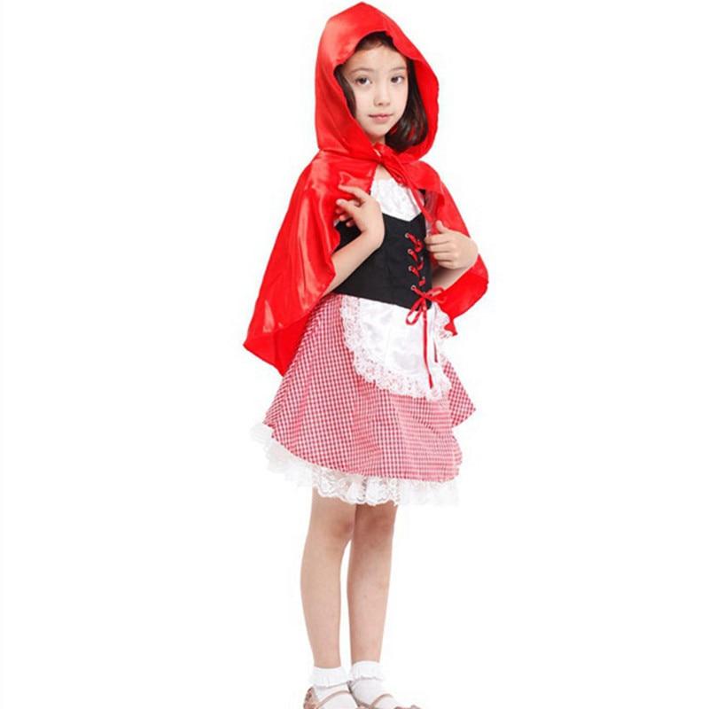 Girls Little Red Riding Hood Dress Costumes For kids 2018 Halloween Cosplay Costume Kits Carnival Fantasias Para Festas Infantil
