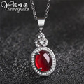 famous brand Natural Garnet pendant lady Real Pure 925 sterling silver jewelry beautiful water drop for women girlfriend gift