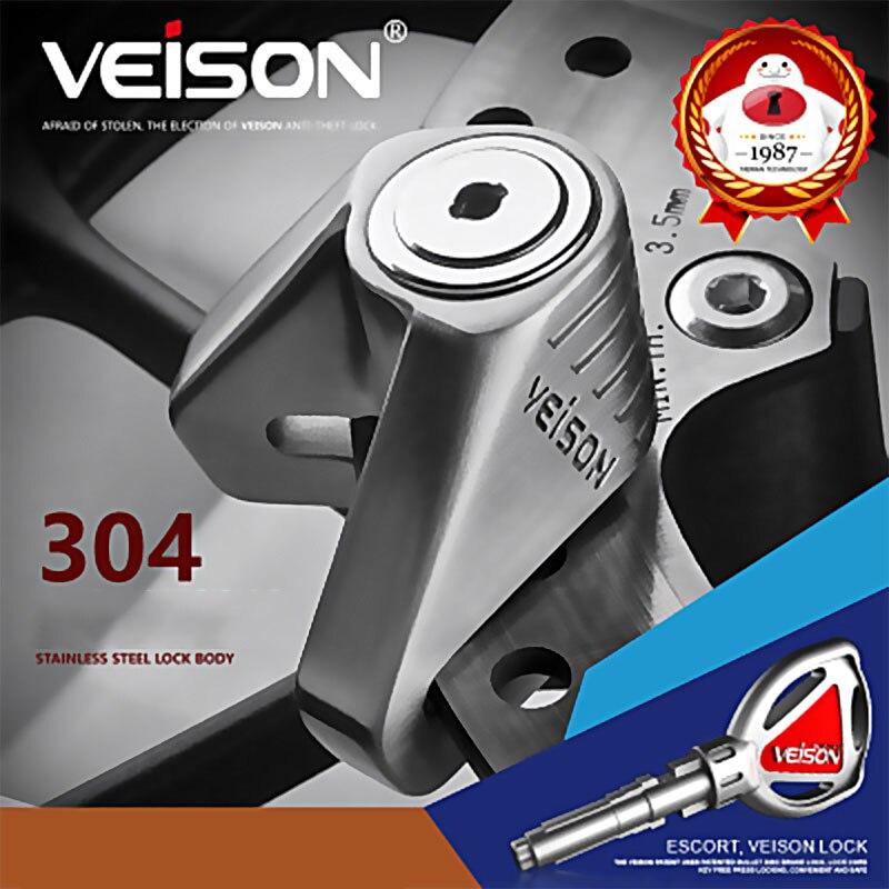 VEISON Motorcycle Lock 304 Stainless Steel Waterproof Anti-Rust Disc Brakes Lock Electric Car Safety Anti-Theft Lock Disc Lock