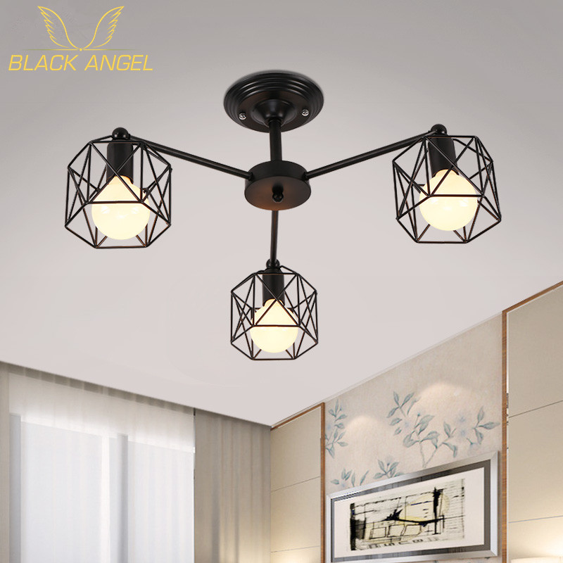 Retro Black 3 heads 6 heads 8 heads Multiple rod ceiling dome lamp creative personality retro nostalgia cafe bar ceiling light