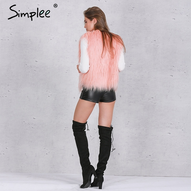 Simplee Faux fur pink women vest Autumn winter sleeveless white outerwear Hairy fluffy casual fashion overcoat 2018 2