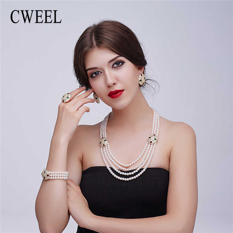 CWEEL Pearl Jewelry Set For Women Ethiopian Bridal Dubai Indian Wedding Costume Gold Nigerian Luxury Necklace Jewelry