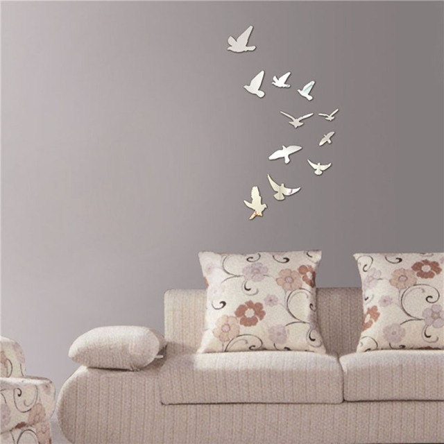 Factory Price! Hot Acrylic Birds Mirror Effect Mural Wall Sticker Removable Modern Room DIY Decoration