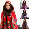 Women's Ethnic Style Geometric Pattern Hooded Cloak Long Cape Shawl Scarf Poncho Store 50