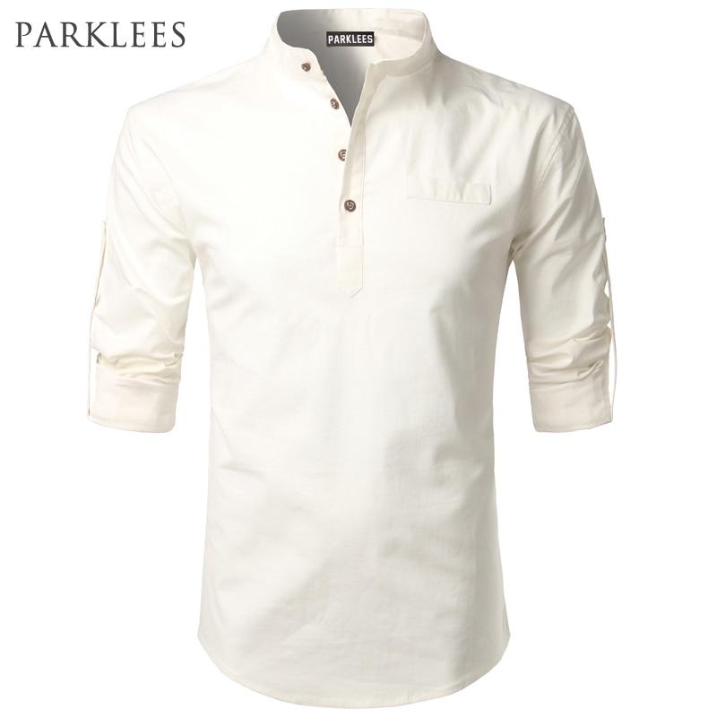 4870d69a65ac White Shirt Men 2017 Rolled Up Sleeve Mens Dress Shirts Slim Fit Cotton  Linen Male Shirt