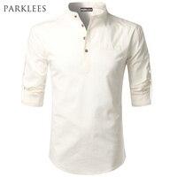 White Shirt Men 2017 Rolled Up Sleeve Mens Dress Shirts Slim Fit Cotton Linen Male Shirt