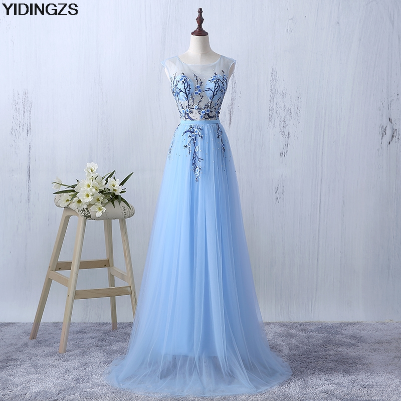 YIDINGZS Sky Blue 2018 New Flowers Crystal Evening Dresses Fashion Tulle Party  Dress Robe De Soiree 2093b62ade8b