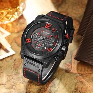 Image 5 - CURREN Luxury Brand Men Military Sport Chronograph Watches Date Quartz Male Clock Leather Strap Wrist watch Montre Homme  Reloj