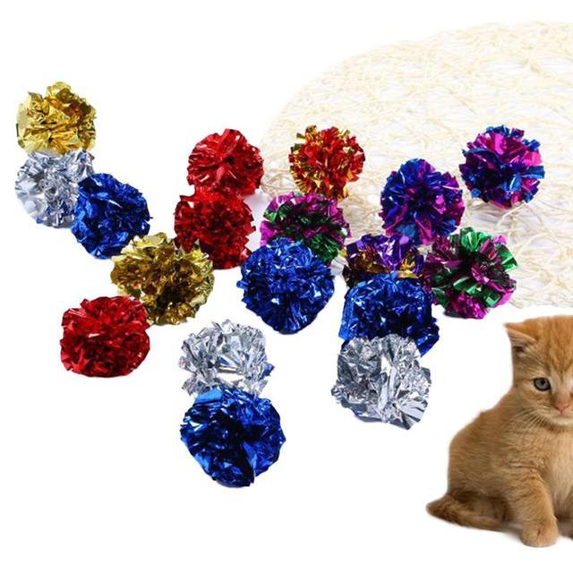 Boule avec jouet pour chat Mylar   Boule scintillante en papier, boules Mylar interactives, anneau en papier brillant, son de boule scintillante, jouet animal de compagnie, balles de jeu