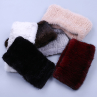 Luxury Fashion Women's Winter Genuine Mink Fur Hand Knitted Fur Ring Circle Infinity Scarf Scarves Snoods Warm Collar Soft Nice
