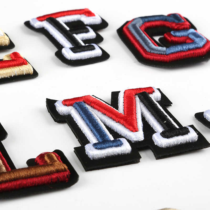 3D Letter Badges Embroidered Sew on Patch Colorful Name Tags Hat Bag Shirt DIY Logo Emblems Crafts Alphabet Decorations
